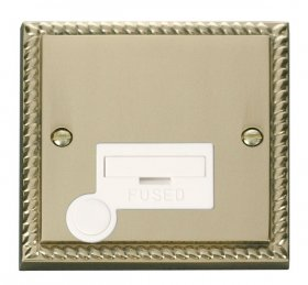 Click Deco Georgian Brass Unswitched Fused Spur + F/O GCBR050WH