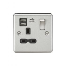 Knightsbridge Brushed Chrome 13A Dual USB Single Socket CL91BC