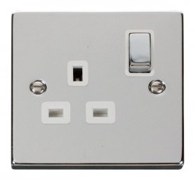 Click Deco Polished Chrome 13A Single Switched Socket VPCH535WH