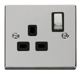 Click Deco Polished Chrome 13A Single Switched Socket VPCH535BK