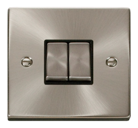 Click Deco Satin Chrome 2 Gang 2 Way Switch VPSC412BK