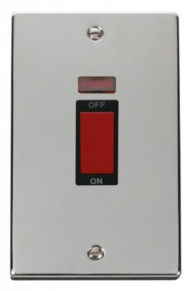 Click Deco Polished Chrome 45A Vertical DP Switch Neon VPCH203BK