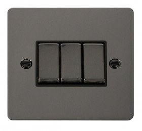 Click Define Black Nickel 3 Gang 2 Way Switch FPBN413BK