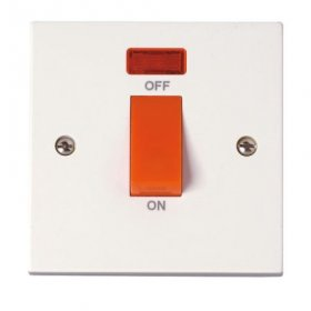Click Polar 45A 1 Gang Single Cooker Switch with Neon PRW201