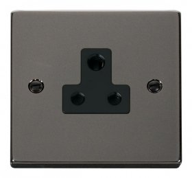 Click Deco Black Nickel 5A Single Round Pin Socket VPBN038BK