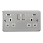 Click Deco Plus Twin USB Double Switched Socket DPCH580WH