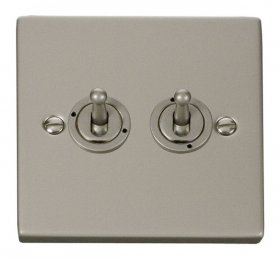 Click Deco Pearl Nickel 2 Gang 2 Way Toggle Switch VPPN422