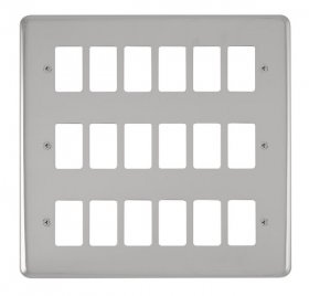 Click Deco Plus Pol/Chrome 18 Gang Grid Pro Plate DPCH20518