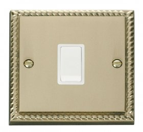 Click Deco Georgian Brass 20A Double Pole Switch GCBR622WH