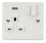 Click Definity 1 Gang USB Switched Socket Insert SIN771UPW