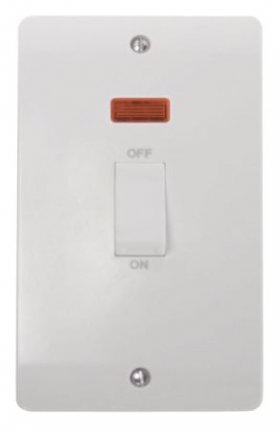 Click Mode 45A 2 Gang Single Cooker Switch with Neon CMA503