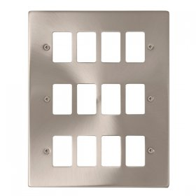 Click Deco Satin Chrome 12 Gang Grid Pro Front Plate VPSC20512