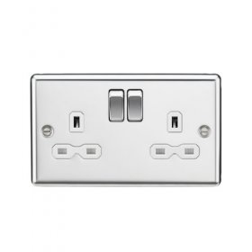 Knightsbridge Polished Chrome 13A Double Switched Socket CL9PCW