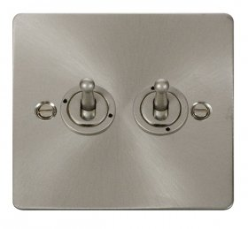 Click Define Brushed Steel 2 Gang 2 Way Toogle Switch FPBS422