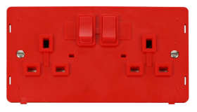 Click Definity 2 Gang DP Switched Socket Outlet Insert SIN036RD