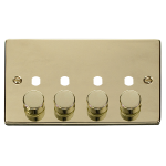 Click Polished Brass 4G Empty Dimmer Plate with Knobs VPBR154PL