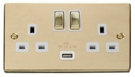 Click Deco Polished Brass USB Double Switched Socket VPBR570WH