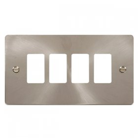 Click Define Brushed Steel 4 Gang Grid Pro Front Plate FPBS20404