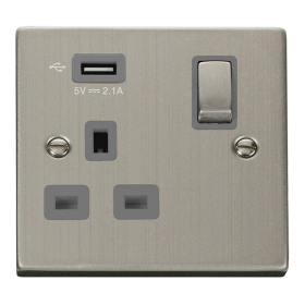 Click Deco Stainless Steel USB Single Switched Socket VPSS571UGY