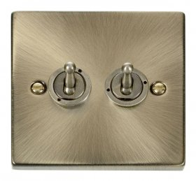 Click Deco Antique Brass 2 Gang 2 Way Toggle Switch VPAB422