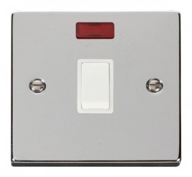 Click Deco Polished Chrome 20A Double Pole Switch Neon VPCH623WH