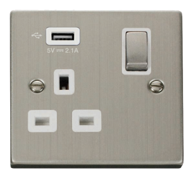 Click Deco Stainless Steel USB Single Switched Socket VPSS571UWH