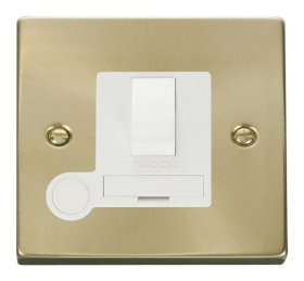 Click Deco Satin Brass Switched Fused Spur + F/O VPSB051WH
