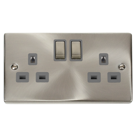 Click Deco Satin Chrome 13A Double Switched Socket VPSC536GY