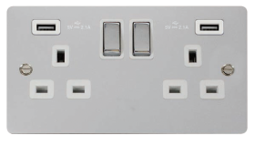 Click Define Polished Chrome Twin USB Switched Socket FPCH580WH