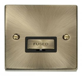 Click Deco Antique Brass Unswitched Fused Spur VPAB750BK