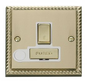 Click Deco Georgian Brass Switched Fused Spur + F/O GCBR551WH