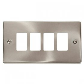 Click Deco Satin Chrome 4 Gang Grid Pro Front Plate VPSC20404