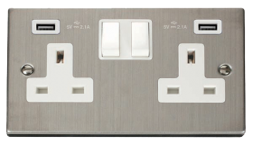 Click Deco Stainless Steel Twin USB Double Socket VPSS780WH