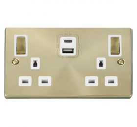 Click Deco Satin Brass Type A & C USB Double Socket VPSB586WH