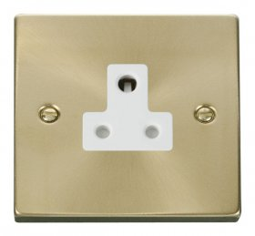 Click Deco Satin Brass 5A Single Round Pin Socket VPSB038WH