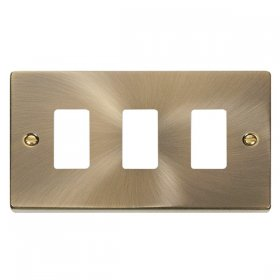 Click Deco Antique Brass 3 Gang Grid Pro Front Plate VPAB20403