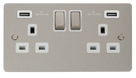 Click Define Pearl Nickel Twin USB Double Socket FPPN580WH