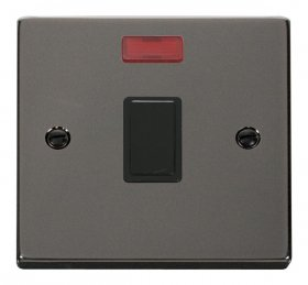 Click Deco Black Nickel 20A Double Pole Switch + Neon VPBN623BK
