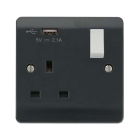 Click Mode Part M 1 Gang DP USB Switched Socket CMA771UAG