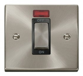 Click Deco Satin Chrome 1 Gang 45A DP Switch with Neon VPSC501BK
