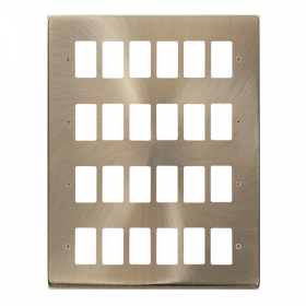 Click Deco Antique Brass 24 Gang Grid Pro Front Plate VPAB20524