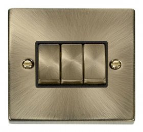 Click Deco Antique Brass 3 Gang 2 Way Switch VPAB413BK