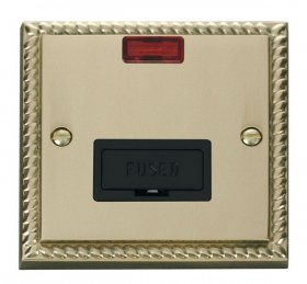 Click Deco Georgian Brass Unswitched Fused Spur + Neon GCBR653BK
