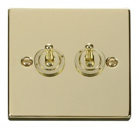 Click Deco Polished Brass 2 Gang 2 Way Toggle Switch VPBR422
