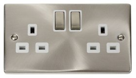 Click Deco Satin Chrome 13A Double Switched Socket VPSC536WH