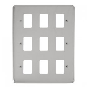 Click Deco Plus Pol/Chrome 9 Gang Grid Pro Front Plate DPCH20509