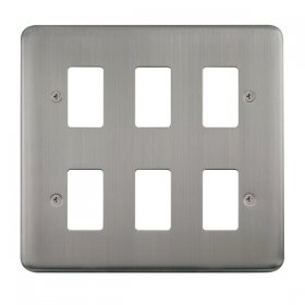 Click Deco Plus S/Steel 6 Gang Grid Pro Front Plate DPSS20506
