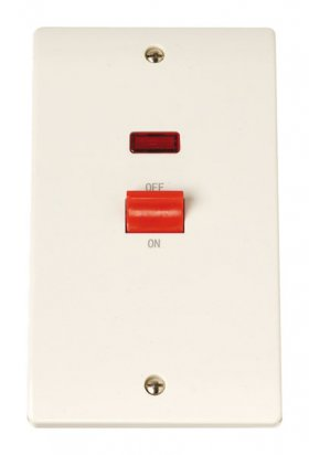 Click Curva CCA203 45A 2 Gang Single Cooker Outlet + Neon