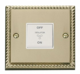 Click Deco Georgian Brass 3 Pole Fan Isolator Switch GCBR020WH