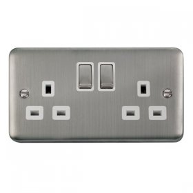 Click Deco Plus 13A Double Switched Socket DPSS536WH